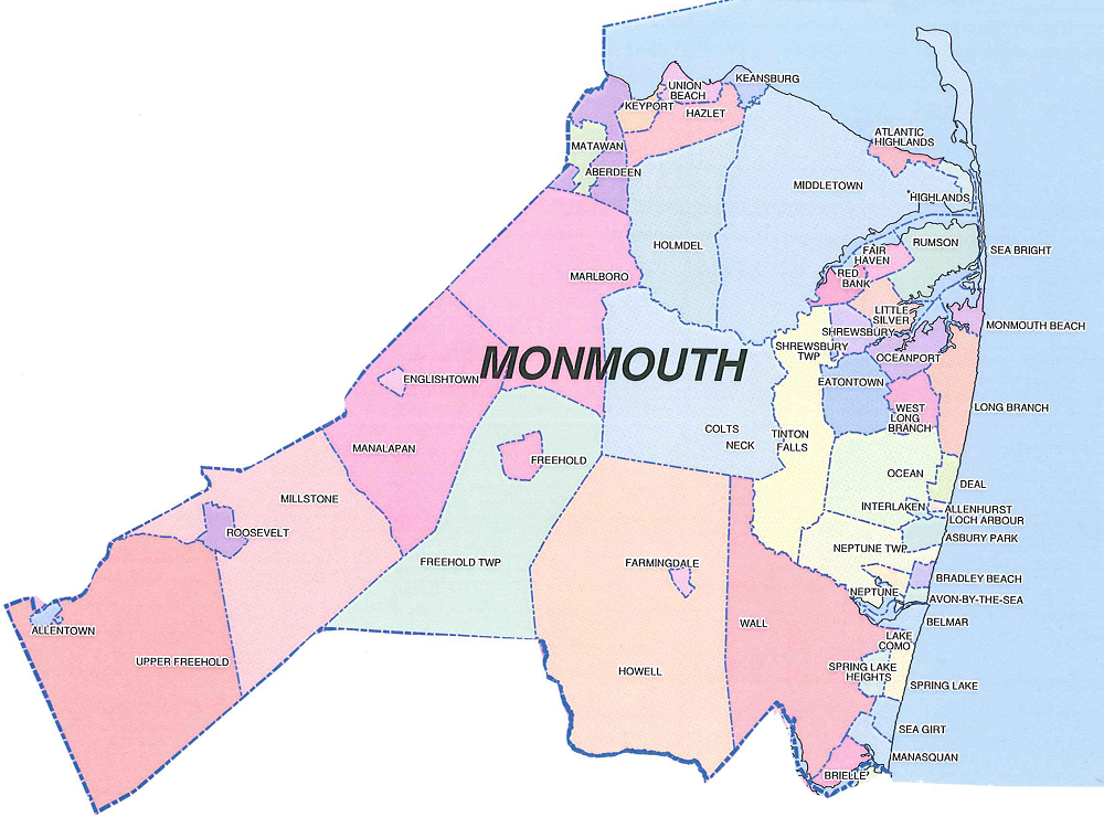 Monmouth County Map Monmouth County Municipalities Map   NJ Italian Heritage Commission