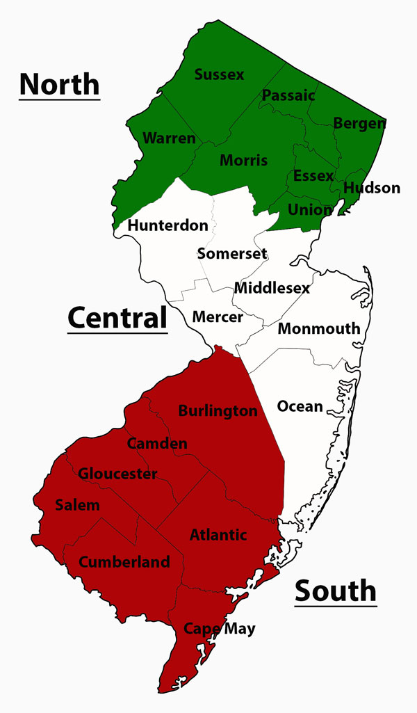 New Jersey Italian Organization Directory - County map of new jersey