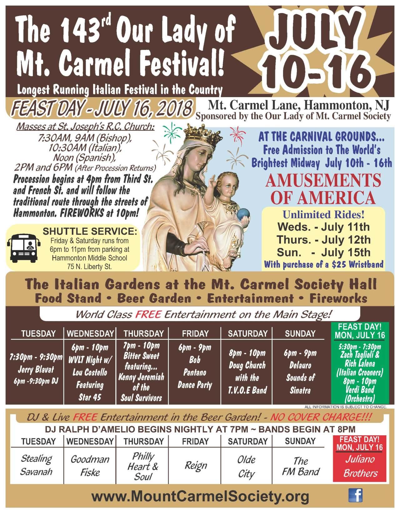 The 143rd Feast of Our Lady of Mt  Carmel - NJ Italian